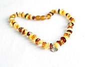 """Amber necklace with charm """"Type 1 diabetic""""  13"""" cognac colour"""