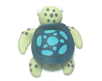 New Fimo Polymer Clay Blue Turtle Figurine Refrigerator Magnet