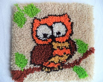 Owl latch hook rug/ vintage owl on a branch rug/ orange yellow and brown owl/ vintage decor/ 70s style decor/ owl rug or wall hanging