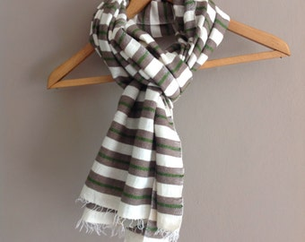 Scarf Cotton Wool Scarf- Men Beige & Green Stripe Scarf- Khaki Green White Mens Man Handwoven Wool Scarf Ethiopian - Mens Beige khaki Winter