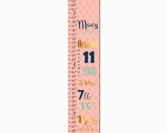 Birth Information Coral Round Damask Print Canvas Growth Chart, Height Chart, Ruler