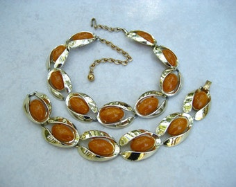 Vintage Thermoset Necklace Bracelet Set Marbled Butterscotch Signed Charel Modernist