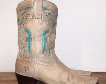10 M | Women's Frye Turquoise Inlay Phoenix Spanish Cowboy Boots