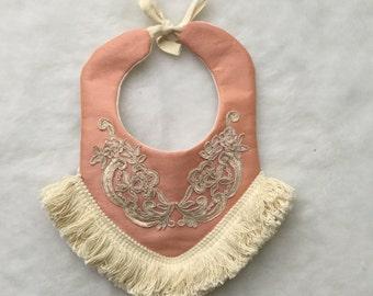 Boho Baby Bib, Couture Silk Fringe Bib, Vintage Baby Bib, Drool Baby Bib, Boho Bib, Holiday gift