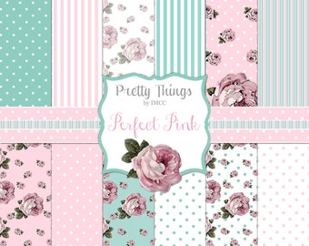 Digital Download Shabby Chic Pink Roses Dots Stripes Patterns Perfect Pink Teal 12 Paper Pack SEAMLESS Backgrounds Scrapbooking Clipart