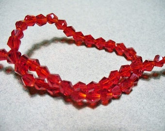 Crystal Beads Faceted  Red Bicone 4mm
