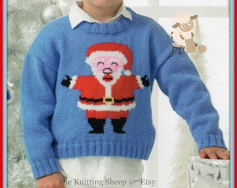 "PDF Knitting Pattern for a Childs Santa Claus or Father Christmas Sweater To Fit 20-30"" Chests - Instant Download"