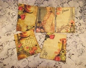 1 Set  Of ATC  Cards  With Rhiesstone on Each Card Eiffel Tower French Ladies Journaling Cads Scrapbooking