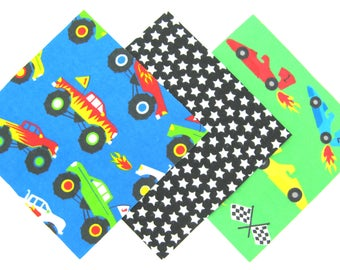 """36 Cotton Flannel 6""""x6"""" Pre Cut Quilt Square Kit in a Bundle of Fun Monster Trucks, Race Cars and Star Matching Prints"""