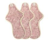 "13"" Reusable Cloth mama pads / Cloth Menstrual Pads heavy / Cloth pad set / Cloth pad starter / Maxi pads - 3 Overnight pads (Antique pink)"