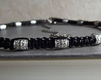 Men's Tribal Necklace: Black Leather Choker, Silver Bohemian Macrame Cord Necklace, Unisex Jewelry, Father's Day Gift