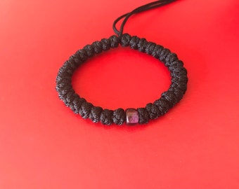 Super Sturdy Eastern 33 Knot Orthodox Prayer Rope With Amethyst Purple Glass Bead