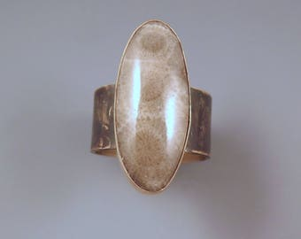 Michigan Petoskey Stone- Michigan State Stone- Fossil- Adjustable- By Red Paw- Bronze- Petoskey Ring