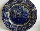 "Vintage 14.5"" Wall Plate, Platter, from Mexico.  Modernist Talavera. 1960's.  Cobalt blue & White"