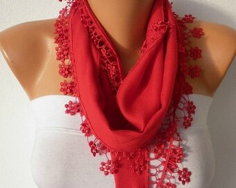 ON SALE --- Red Floral Pashmina Scarf,Wedding Scarf,Christmas Gift, Easter Cowl Scarf Bridesmaid Gift Gift Ideas For Her Women's Fashion Acc