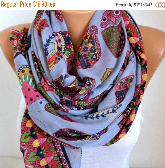 ON SALE --- Owl,Bird,Cat Cotton Soft Scarf, Summer Scarf,Pareo, Oversized Scarf, Cowl Scarf, Shawl, Gift Ideas For Her, Women Fashion Access