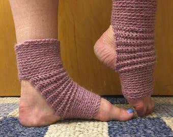 Yoga Socks in Acrylic Wool Blend in Rose Heather -- for Yoga, Dance, Pilates