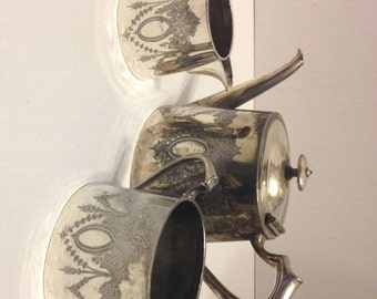 Art Deco Sheffield Silver Plate teapot sugar cream ornate Civic silver tea set silverplate tea pot At Everything Vintage shipping is on us!