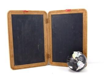 """Vintage Real Slate Chalkboard Set / 2 Blackboards, Double-sided, 9 x 12-3/4"""" each (c.1900s) - Slate Memo Board, Inspiration or Menu Board"""