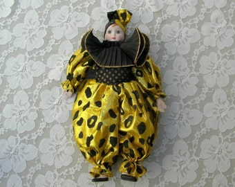 SUMMER SALE Venetian Mardi Gras Doll, carnival doll, clown doll, black and gold