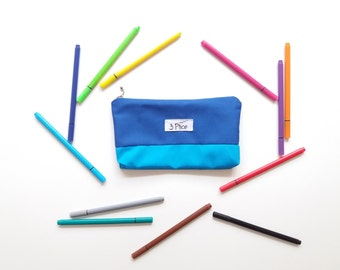 Toiletry Pouch / Pencil Case Shades of Blue / Zipper Cosmetic Bag / Earth Friendly Makeup bag / Eco-Friendly School Supplies Bag / 3 Ptice