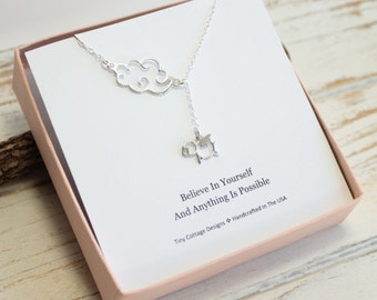 Sterling Silver Cloud and Flying Pig Lariat Necklace...  Graduation Inspirational Sentiment Card