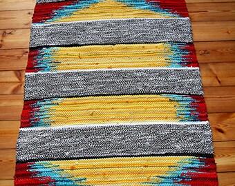 large handwoven rug Sunset Drive cotton linen multicolor area rug carpet home decor bedroom kitchen