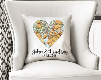 Personalized Pillow Map Pillow Custom Pillow Wedding Gift Heart Pillow Engagement Gift Anniversary Gift Housewarming Gift Realtor Gift