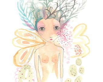 The girl with the birds nest hair original watercolor painting