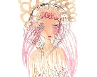 Original art painting whimsical dreamy pink girl