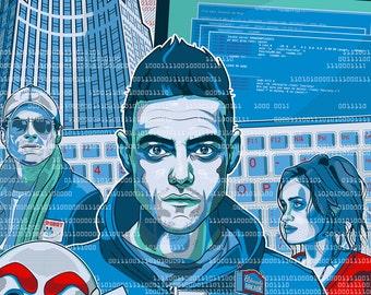 Mr. Robot / F Society / TV Poster / USA Network / Ft: Rami Malek Christian Slater Carly Chaikin Vector Art, Flat Stock, Graphic Design