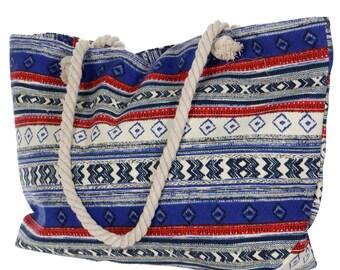 Navajo Tote Rope Handles, Southwestern Print Tote, Aztec Tote, Woven Totes, Ikat Print Totes, Boho Navajo Totes, Large Totes, Womens Totes