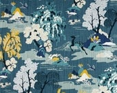 Faux Roman Shade  Lined Mock Valance Robert Allen Modern Toile in Peacock Custom Sizing Available!
