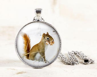 Squirrel Necklace - Silver Squirrel Pendant, Red Squirrel Jewelry, Winter Wildlife Photography, Woodland Animal Necklace, Squirrel in Snow