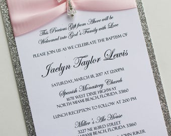 Pink and Silver Baptism-Communion Invitation with gold Vintage Sparkling Cross; Rhinestone Buckle; Rhinestone Cross Brooch