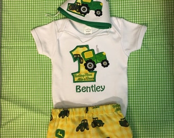 Three piece personalized birthday shorts outfit with tractor