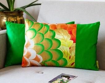 Green Cushion, Chrysanthemum Silk Embroidery, Metallic Cushion, Gold Orange Green Pillow, Botanical Fabric, Flower Petals Repurposed Obi ECO