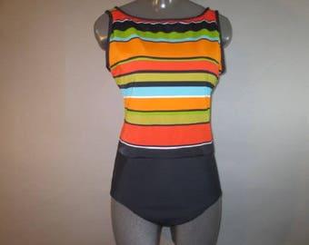 1980's One Piece Swim Suit // Nylon and Spandex, LONGITUDE,  Orange Olive, Gold Black Stripe // Scoop Back, High Front // Built in Bra...16