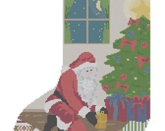 Christmas Stocking Cross Stitch Pattern/ Christmas Cross Stitch Pattern/Cross Stitch Stocking/Santa Cross Stitch Pattern/Digital Pattern