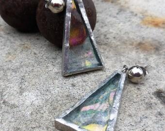 Vintage 1970s Handmade Aurora Borealis Stained Glass Earrings