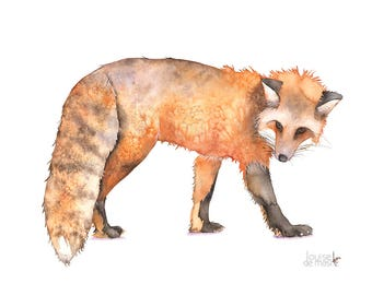 Fox print of watercolor painting, A3 print, F21217, Fox watercolor painting print, Woodland animal print, art for baby, Fox painting