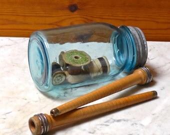 Vintage collectable Pair Industrial Wooden Bobbin Spools