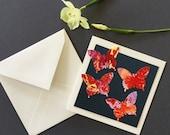 Handmade card, butterfly card, birthday card, anniversary card, Art card