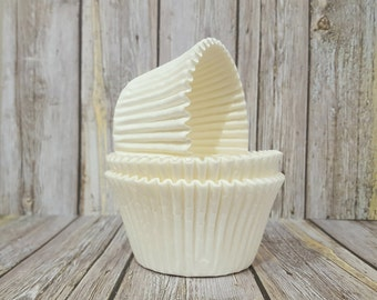 LARGE cupcake liners (50) count - white solid cup cake liners  baking cups  muffin cups  cupcake grease proof