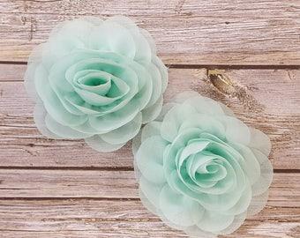 "Mint Soft Petal Rose Flowers Flowers (2 pieces) 3"" Chiffon flower Wholesale Flowers Headband Flowers Fabric Flower Sara embellishment"