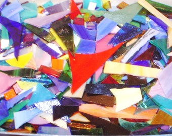 15+ lbs. Stained Glass scrap, SPECTRUM 96 COE, for Fusing or Glass Mosaic