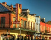 Balconies on Decatur Street in Morning Light, French Quarter Photograph, New Orleans Photography, Colorful, NOLA, Architecture, Tujague's