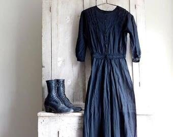 Antique Black Dress, Victorian Mourning Dress, Edwardian Clothing