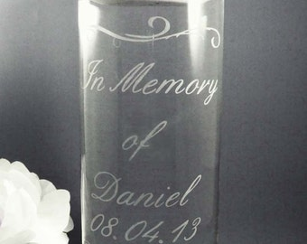 Personalized Memorial Candle Vase w/ Floating Candle - Loved Ones In Heaven - Wedding Day Memorial - Memorial Vase - Remembrance Candle