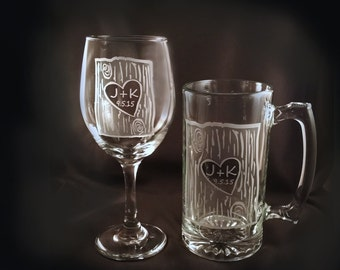 Personalized Wine Glass and Mega Beer Mug Set, Rustic Bar Set, Personalized Wine, Bride and Groom Gift, Rustic Wine Glass, Etched Beer
